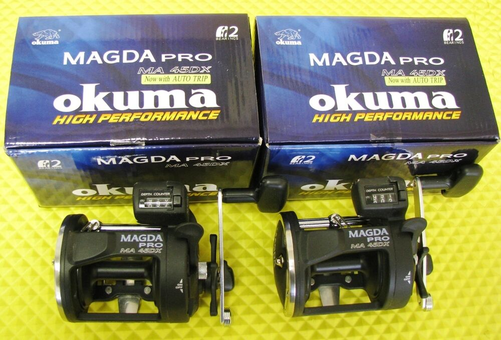 Okuma magda pro ma 45dx line counter trolling reels 2 pack for Fishing line counter