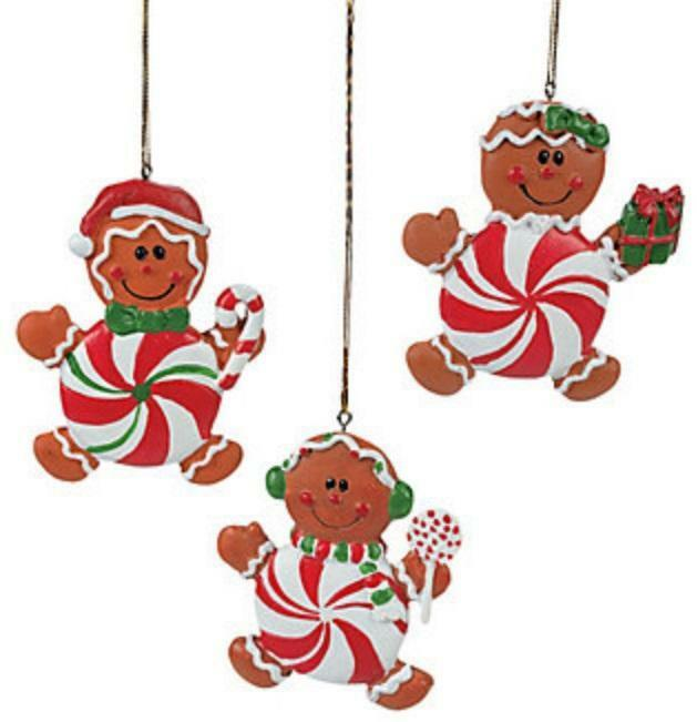 12 Christmas Gingerbread Man & Peppermint Candy Tree