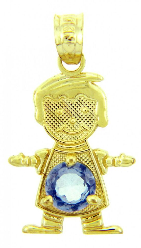 Gold march birthstone aquamarine cz baby boy charm pendant ebay