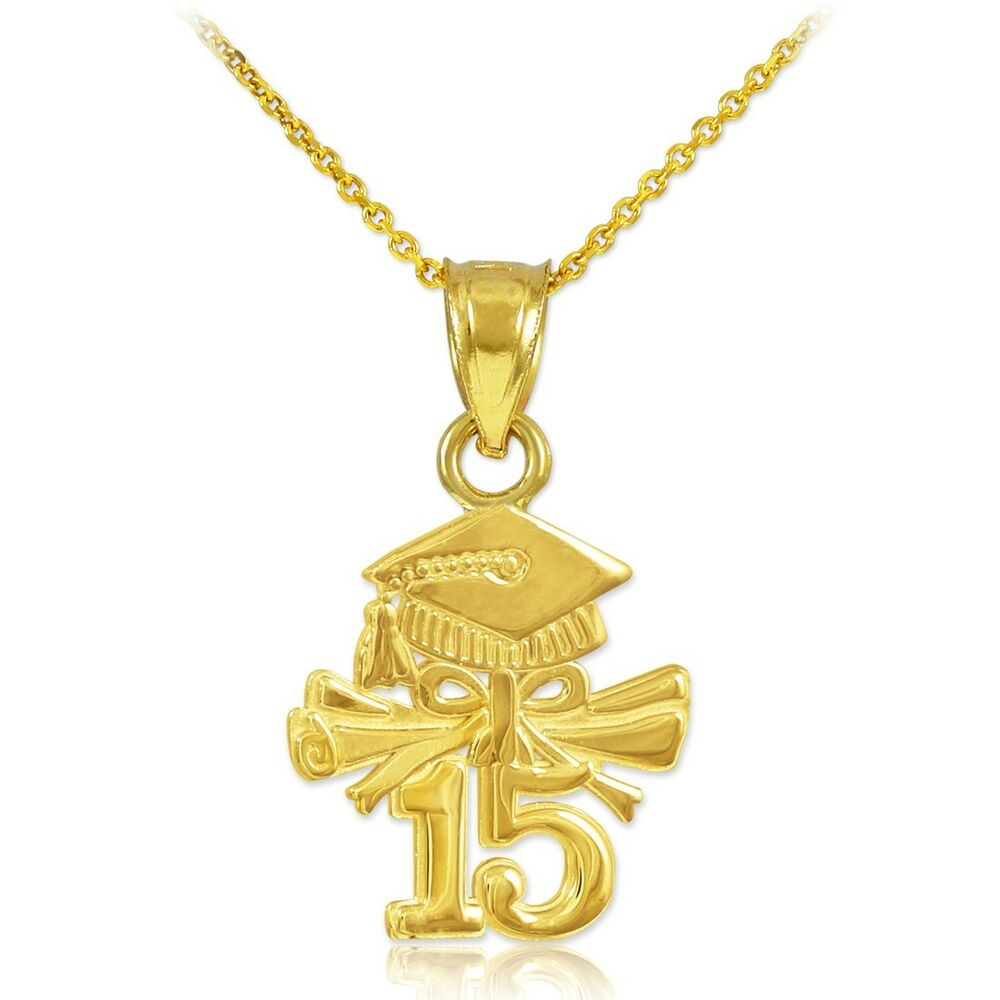 solid gold graduate charm class of 2015 graduation pendant. Black Bedroom Furniture Sets. Home Design Ideas