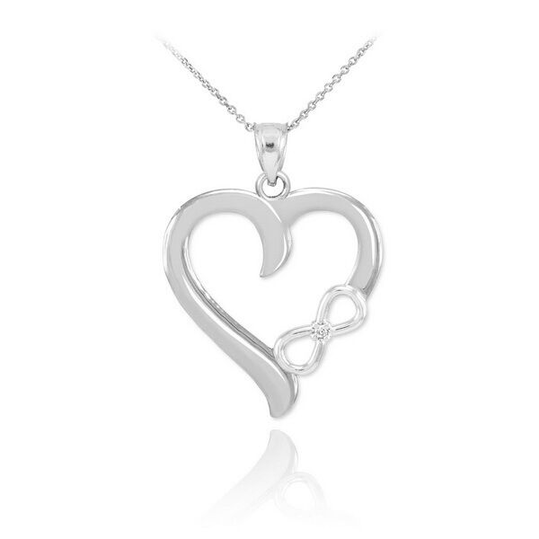 white gold infinity open heart pendant with. Black Bedroom Furniture Sets. Home Design Ideas