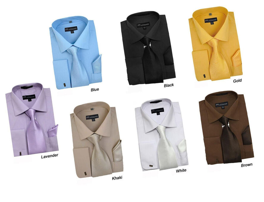 Men 39 S French Cuff Solid Dress Shirt W Matching Tie And
