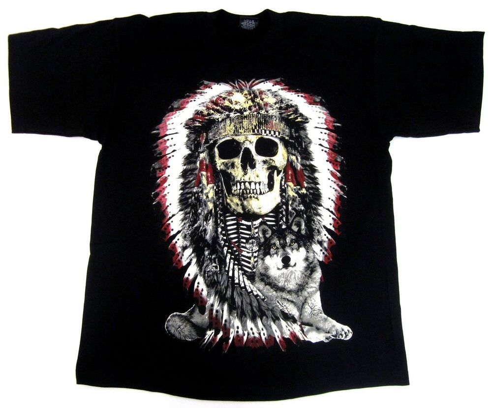 Native American Indian Warrior Skull Headdress Wolf T ...