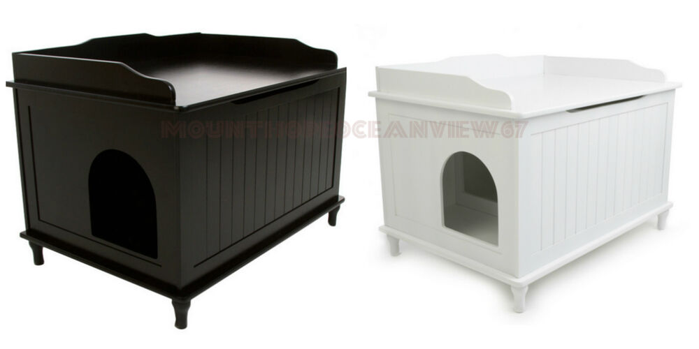 Catbox Litter Box Enclosure Cat Wooden Bench Covered Hidden Kitty Pet Furniture Ebay