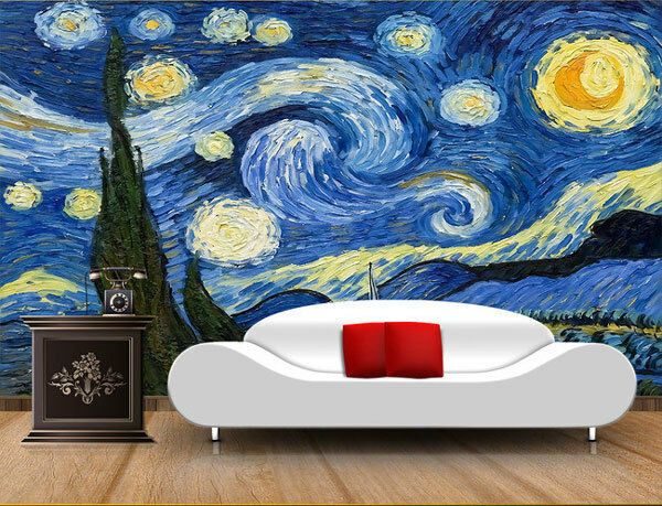 3d starry night van gogh art full wall mural photo for Mural van gogh