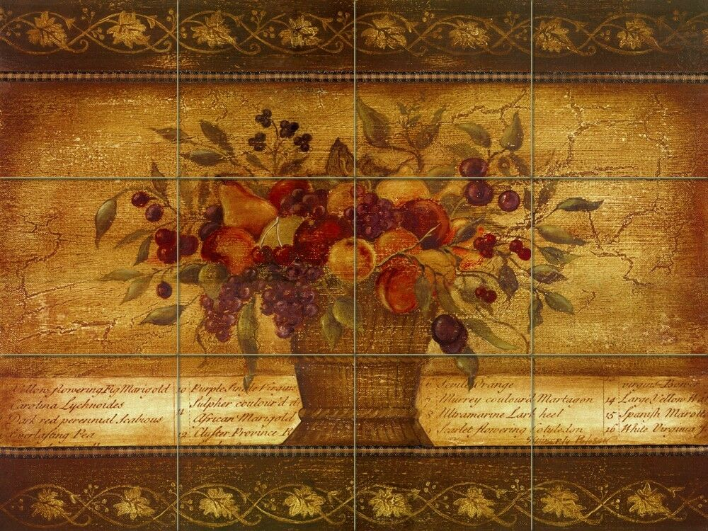 Art fruits basket mural ceramic backsplash tile 350 ebay for Artwork on tile ceramic mural
