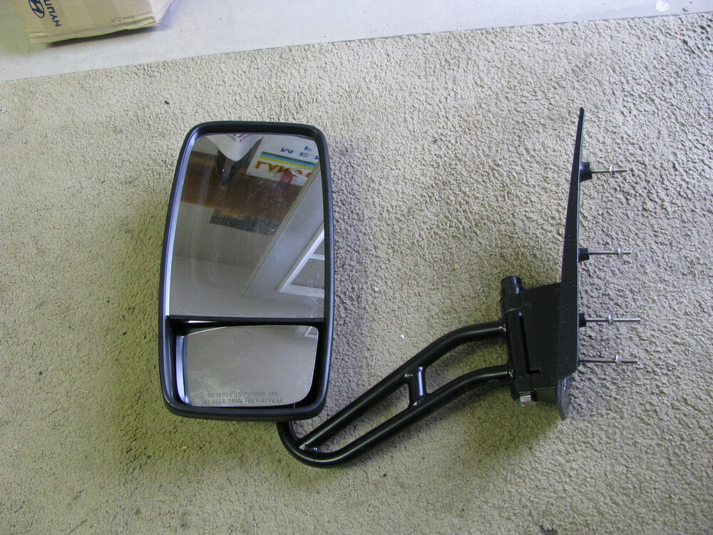 Rv Side Mirrors : Bus motorhome driver side manual mirror black painted ebay