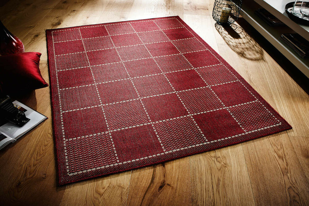 Red kitchen utility runner rug sisal like checked for Small rugs for kitchen