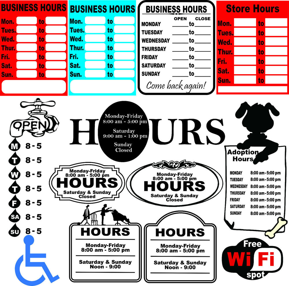 Clean image pertaining to printable business hours sign