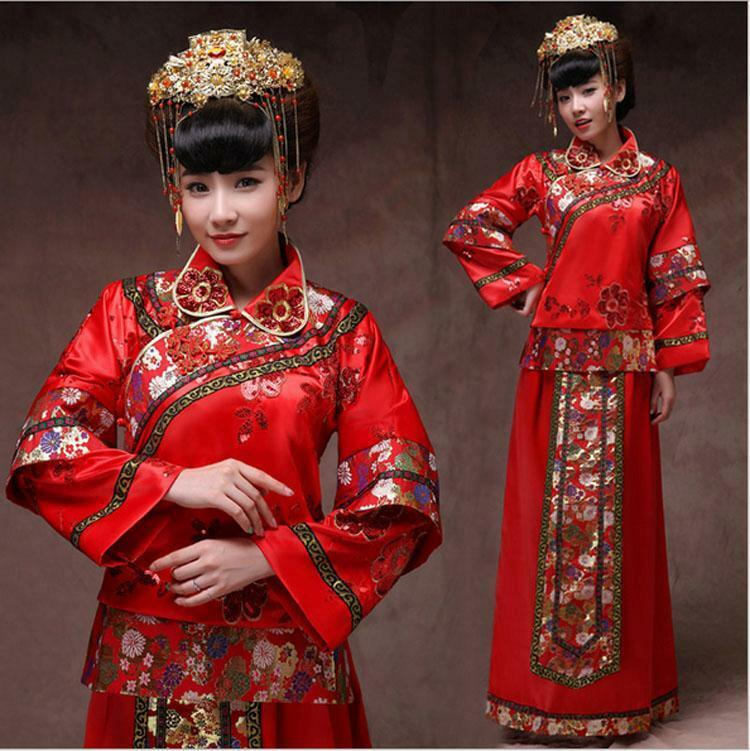 Chinese Traditional Cheongsam Bride Wedding Dress Red Dress Toast ...