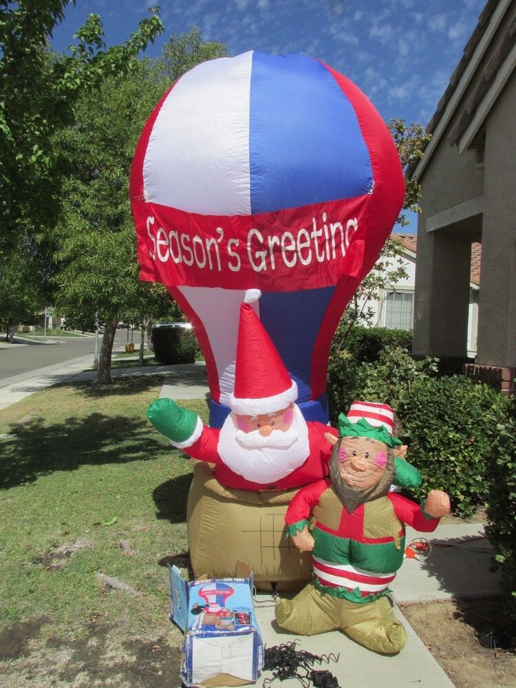 Ft lighted gemmy christmas airblown santa claus hot air