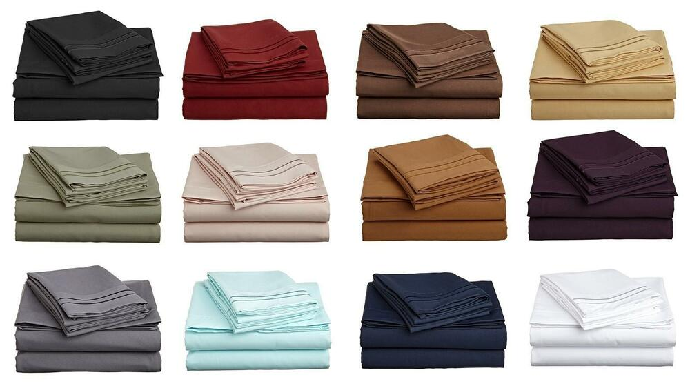 1000 Tc Egyptian Cotton Bedding Items Sheet Set Fitted