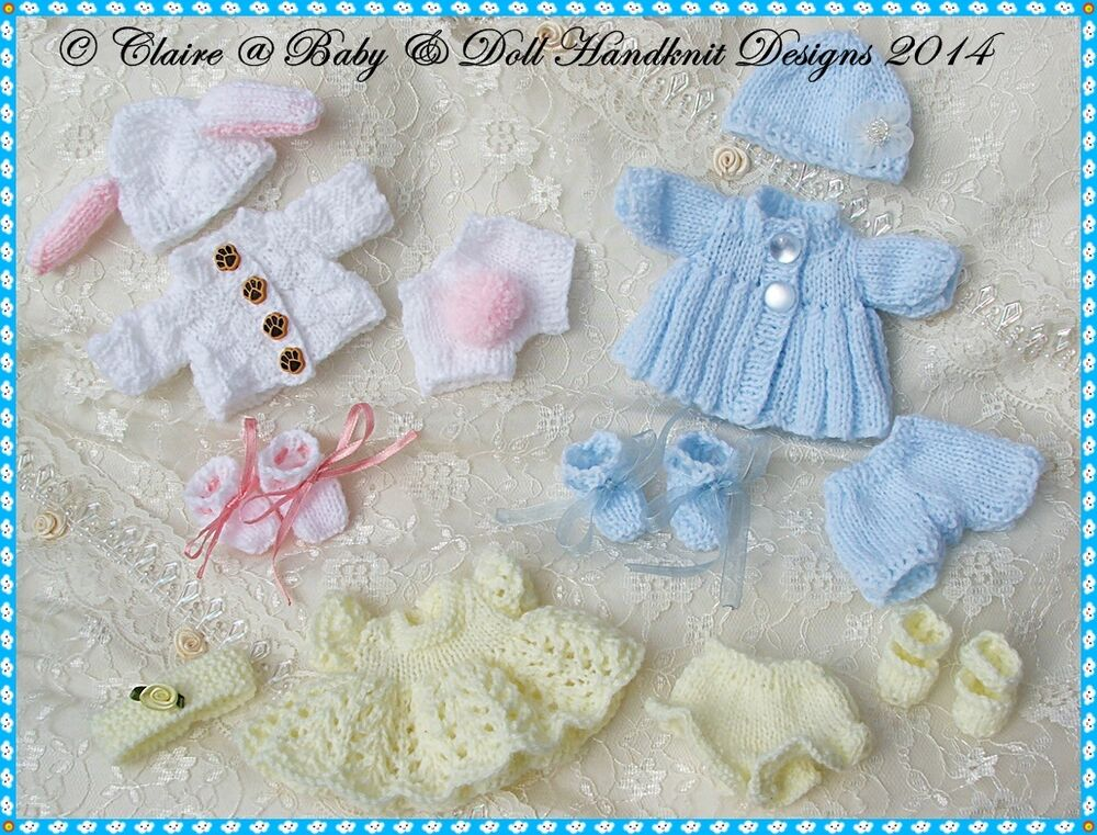3 babydoll handknit designs knitting patterns for 5 8 for 5 inch baby dolls for crafts