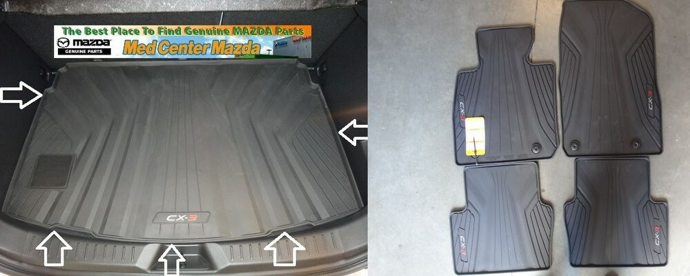 mazda cx 3 rear rubber cargo tray and a set of 4 all weather floor mats ebay. Black Bedroom Furniture Sets. Home Design Ideas