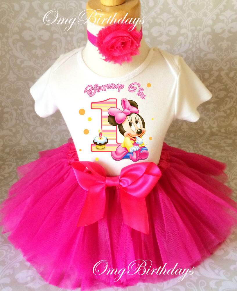 Minnie Mouse Hot Pink Baby Girl 1st First Birthday Tutu
