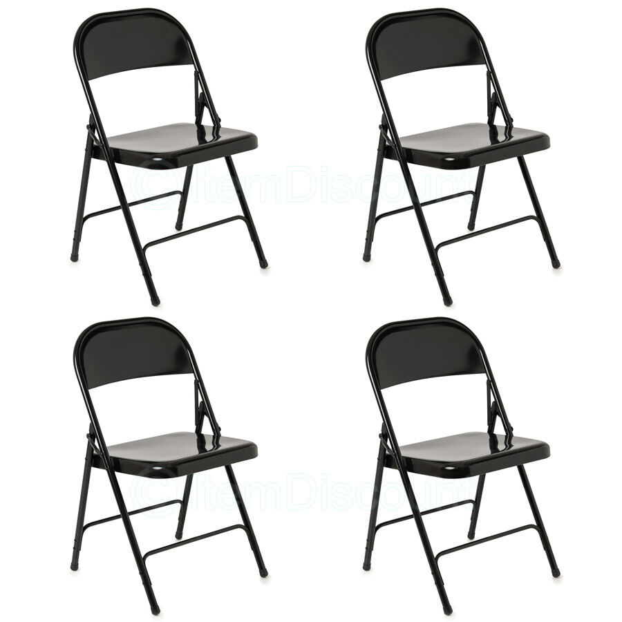 4 black metal folding chairs banquet patio wedding party for Folding banquet chairs
