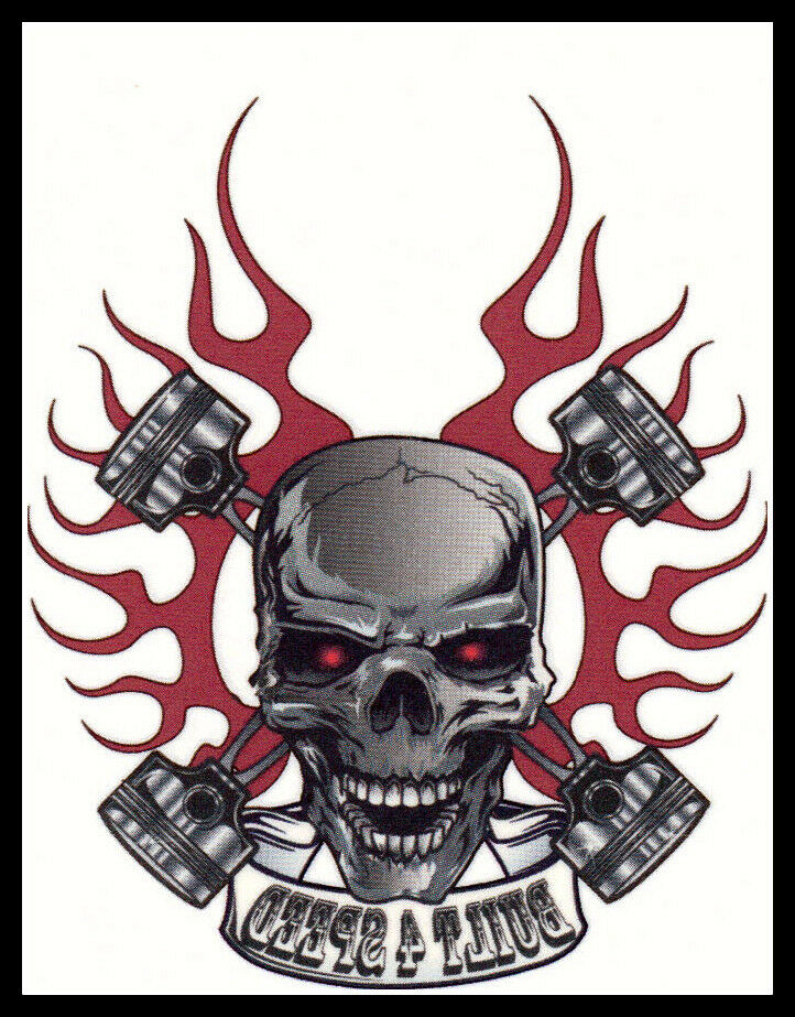 motorcycle biker tribal skull built for speed temporary tattoo halloween costume ebay. Black Bedroom Furniture Sets. Home Design Ideas