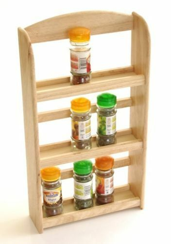 3 Tier Wood Wooden Herb Herbs Jar Holder Spice Rack Stand