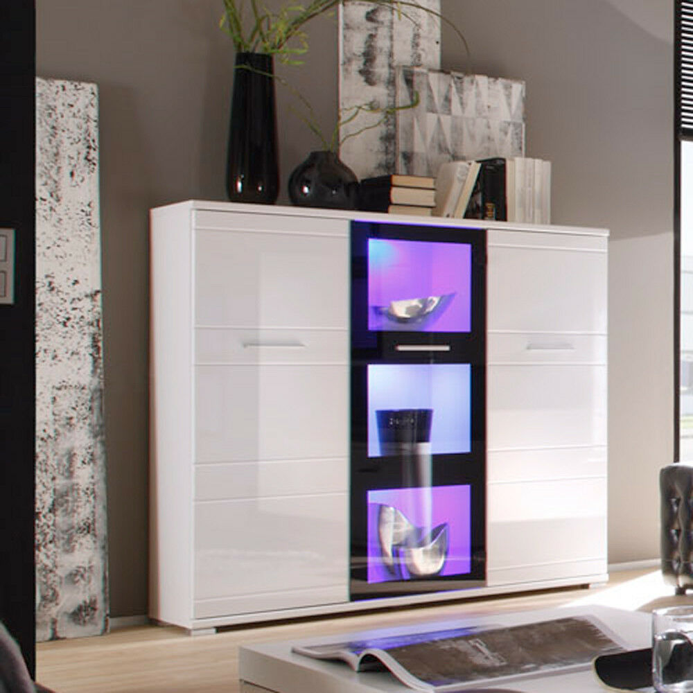 highboard ultra 1 schrank in hochglanz wei und schwarz mit rgb led ebay. Black Bedroom Furniture Sets. Home Design Ideas