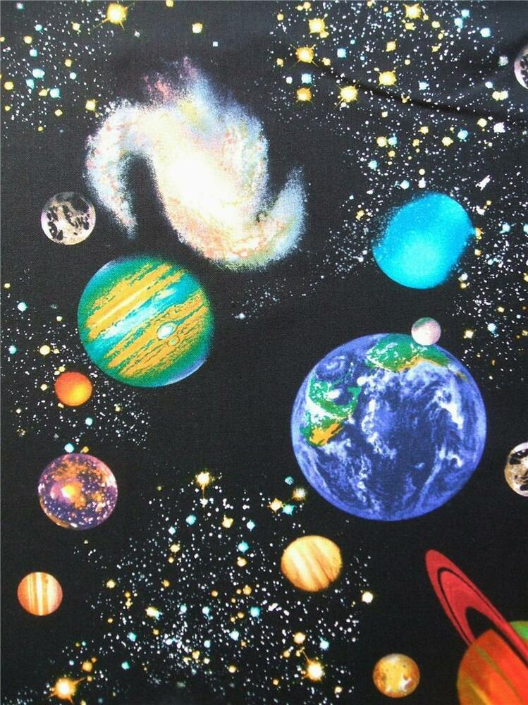 Solar system planets stars night sky timeless treasures for Fabric planets solar system