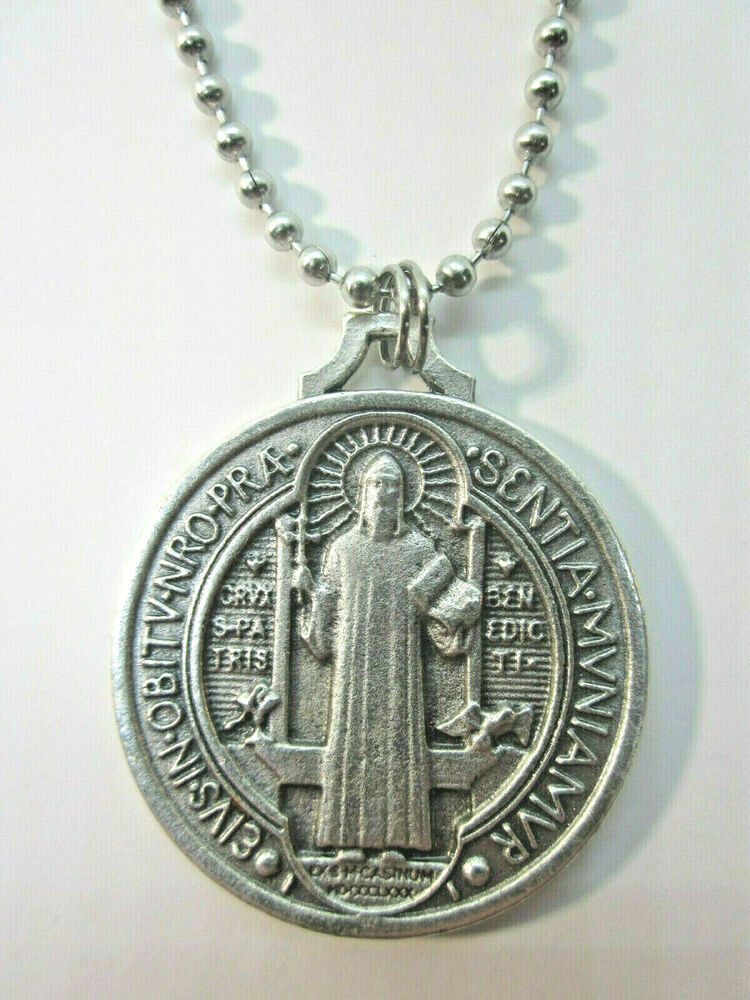 Xl St Benedict Jubilee Medal 1 1 2 Quot Italy Pendant Necklace