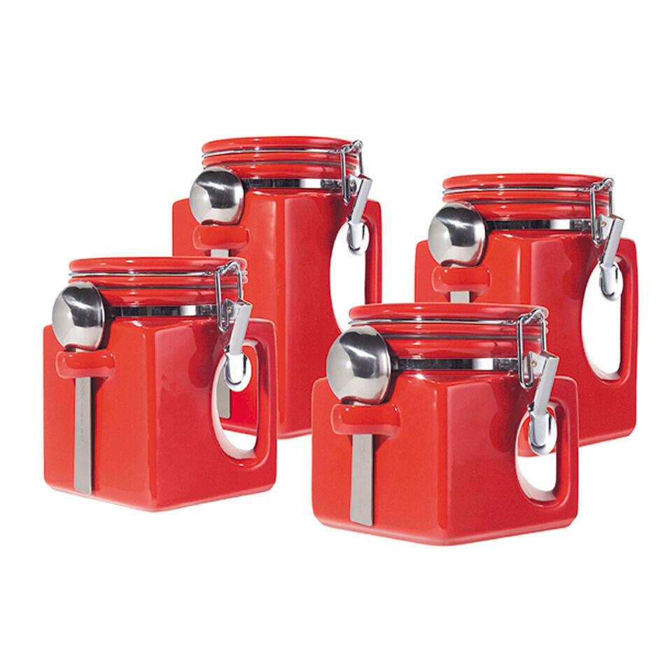 Oggi ez grip 4 piece set red ceramic airtight canister jar for Kitchen kitchen set
