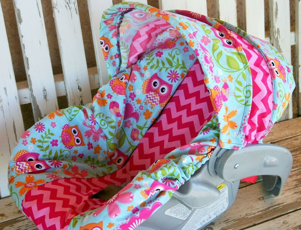 Owls With Pink Chevron Infant Car Seat Cover And Hood