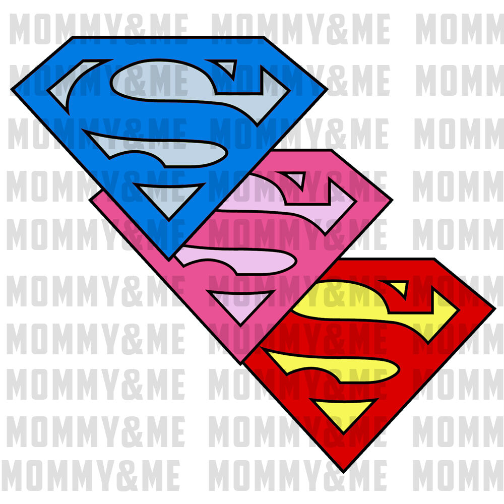 Details about 2x Iron On T-Shirt Hoodie Transfer Superman Superwoman Girls Boys Logo A5