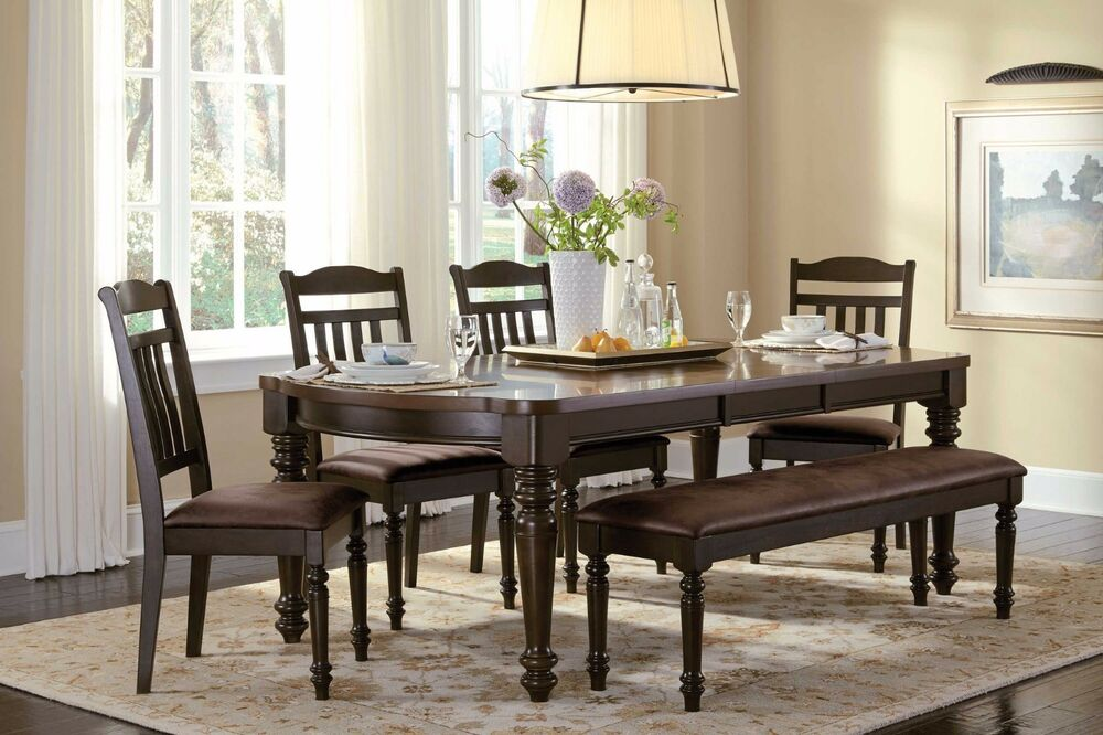 Country style espresso dining table chairs bench dining for Country style dining room sets