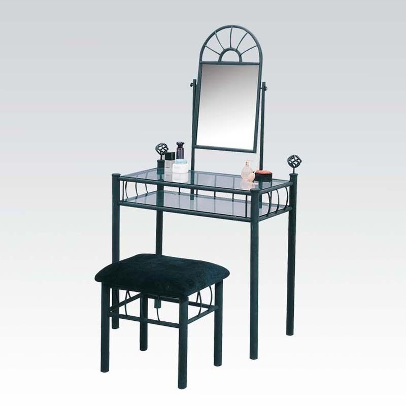 2pc Sandy Black Metal Glass Make Up Table Microfiber