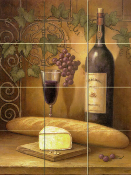 18 x 24 wine grape art mural ceramic backsplash bath decor for Ceramic tile mural backsplash