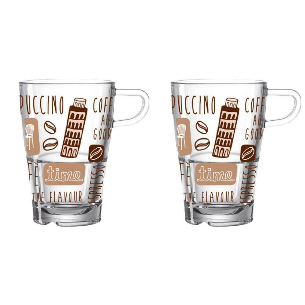 leonardo la vita latte macchiato tassen set 2er set kaffee becher glas italien ebay. Black Bedroom Furniture Sets. Home Design Ideas