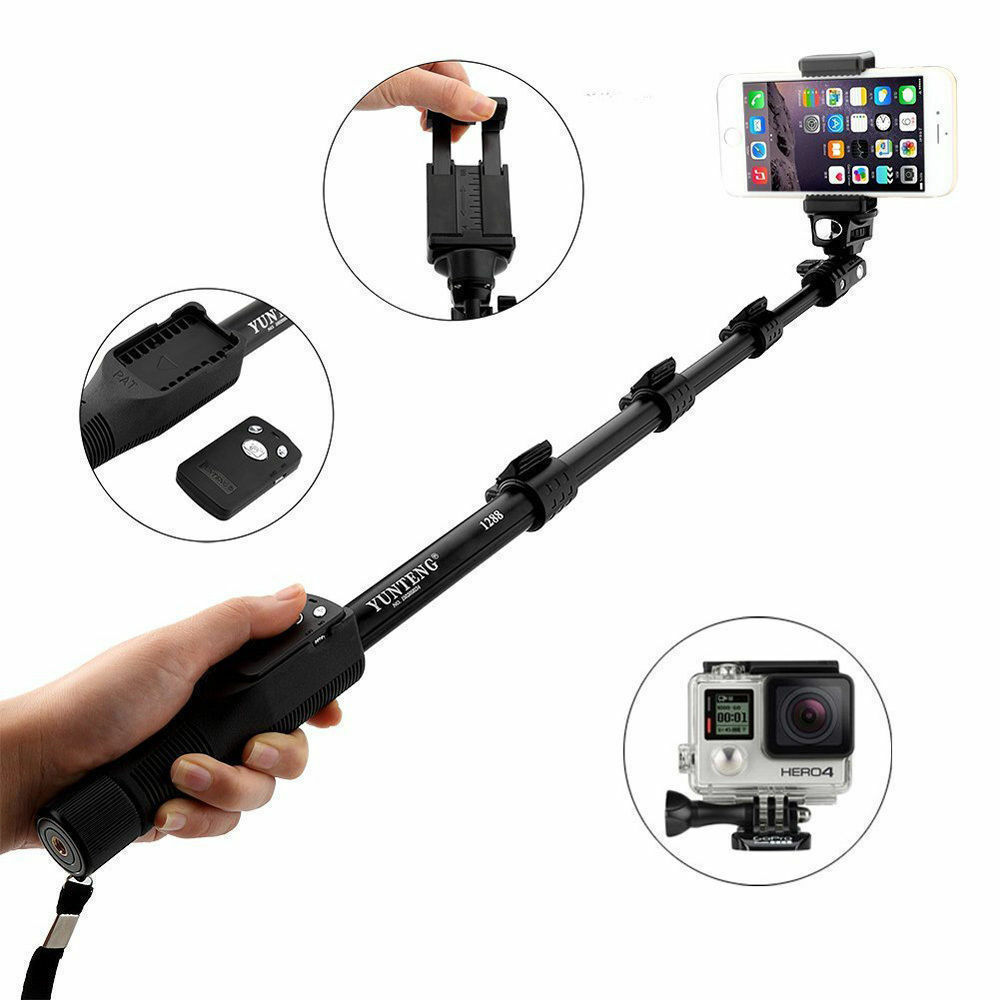 extendable selfie stick monopod with bluetooth remote shutter for iphone samsung ebay. Black Bedroom Furniture Sets. Home Design Ideas