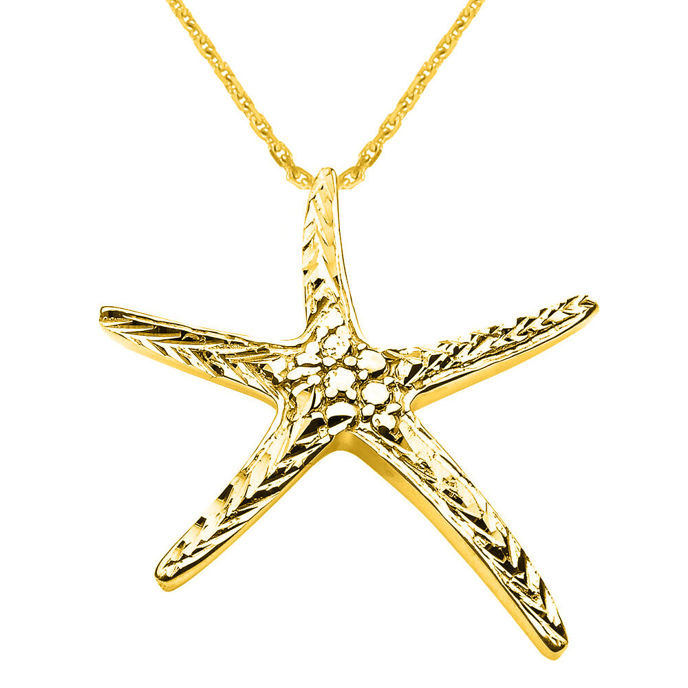 New fine 10k yellow gold diamond cut starfish ocean beach for Fine jewelry diamond pendants
