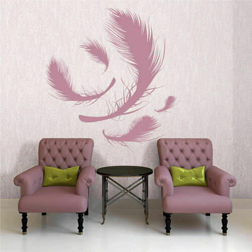 Wall decal sticker plumage feather birds nib styl falling feather
