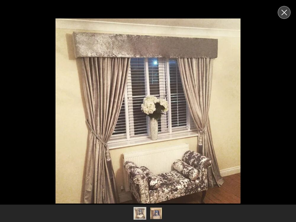 Padded Crushed Velvet Window Pelmet Any Colours Curtains