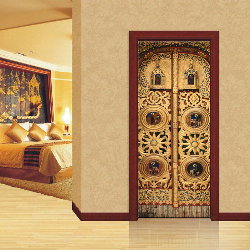 Door wall or fridge sticker poster golden church decole for Door wall mural