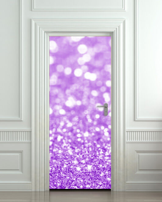 Door Wall Fridge Sticker Poster Purple Glitter Decole
