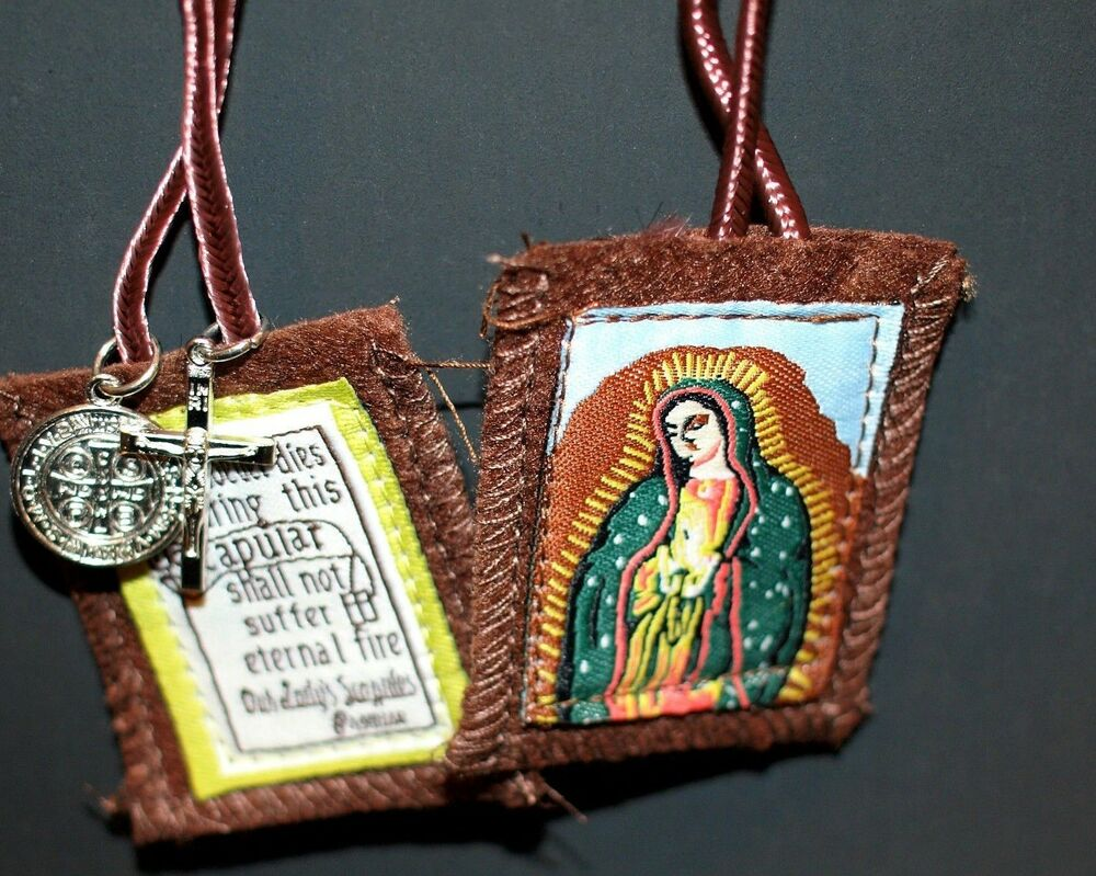 Brown Scapular Necklace St Beneidict Crucifix Medal Cross