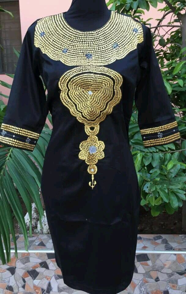 Odeneho Wear Ladies Black Polished Cotton Dress/Gold Embroidery.African Clothing | EBay