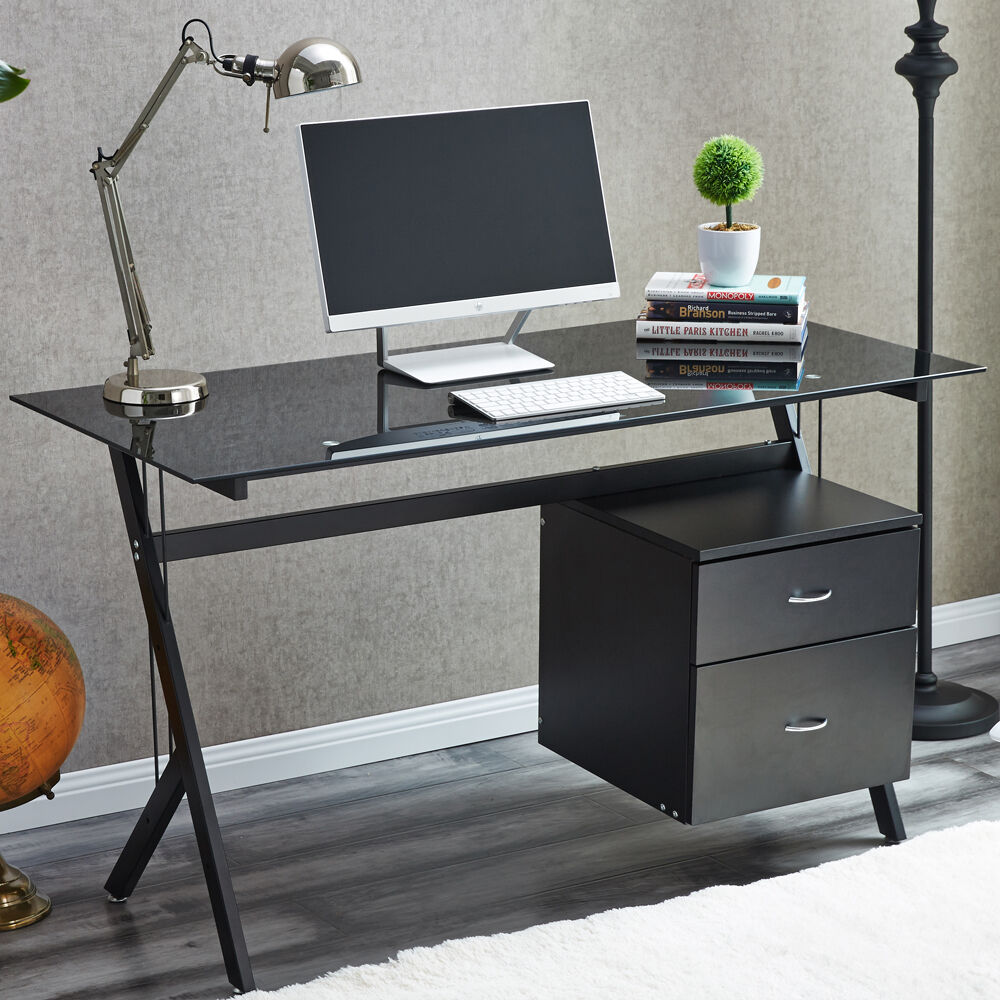 Raygar Black Glass Compact Computer Desk With 2 Drawers