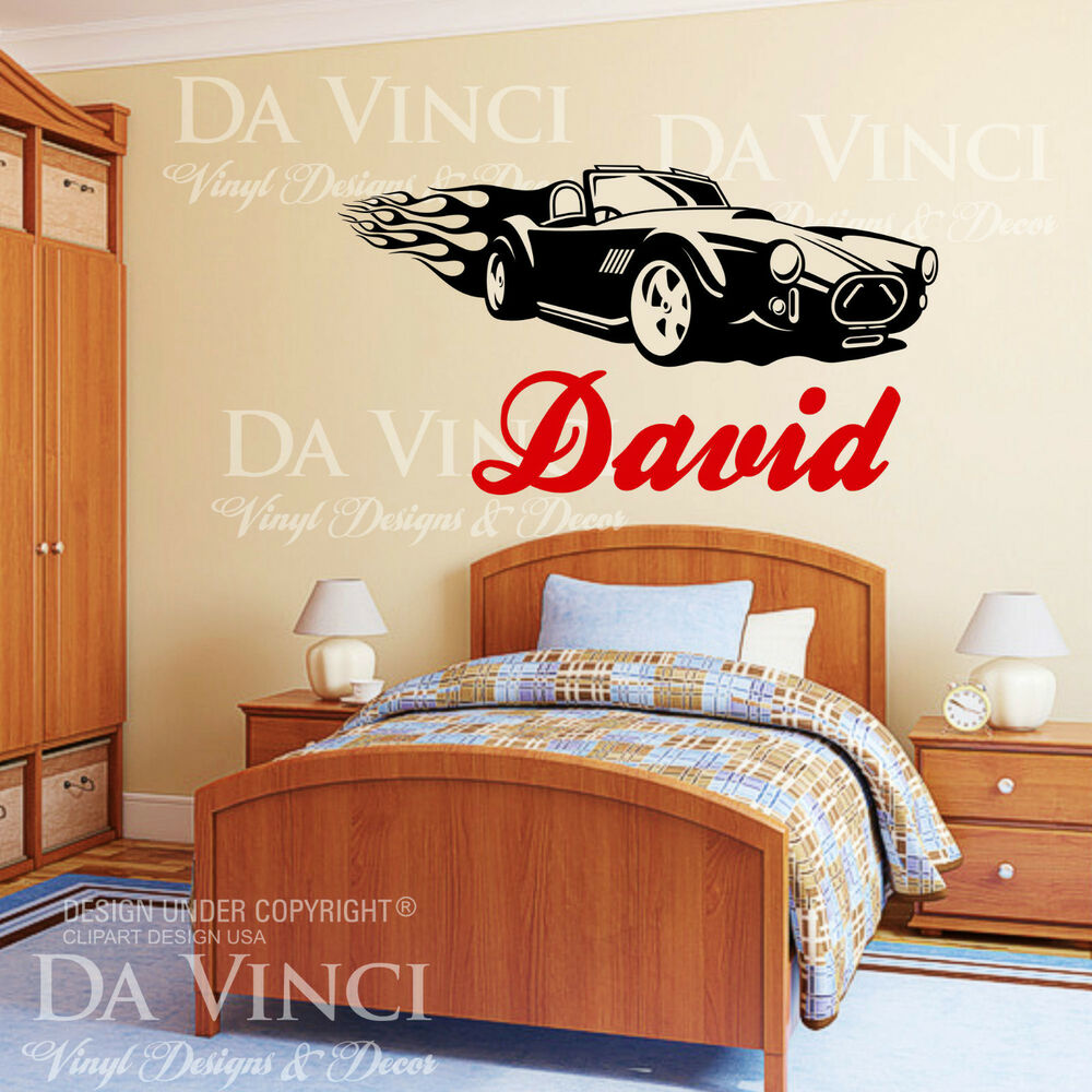 wheels racecar custom wall room name vinyl wall decal sticker ebay