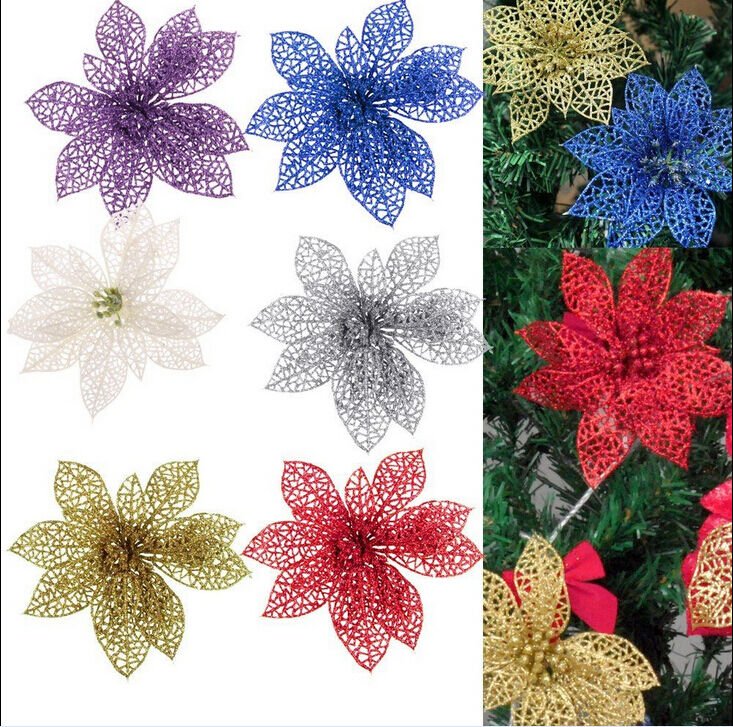 Christmas flowers xmas tree decorations glitter hollow for California floral and home christmas decorations