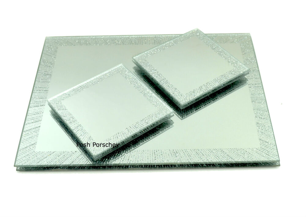 Set of 4 luxury glitter star burst glass silver dinner for Glass table placemats