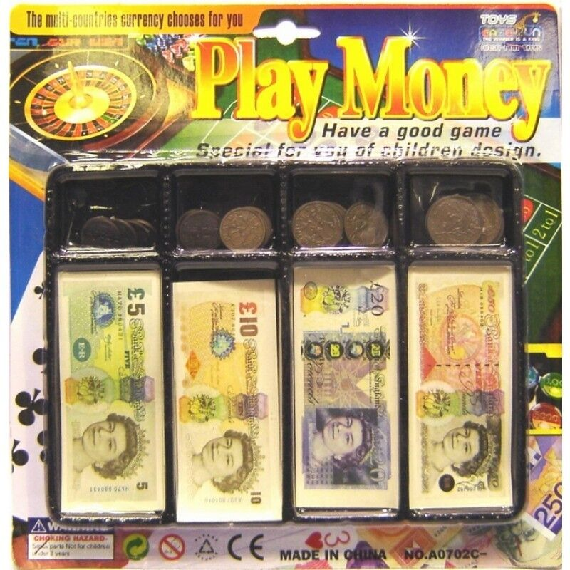 Pretend Toy Money : Kids play money till set toy coin notes pounds penny
