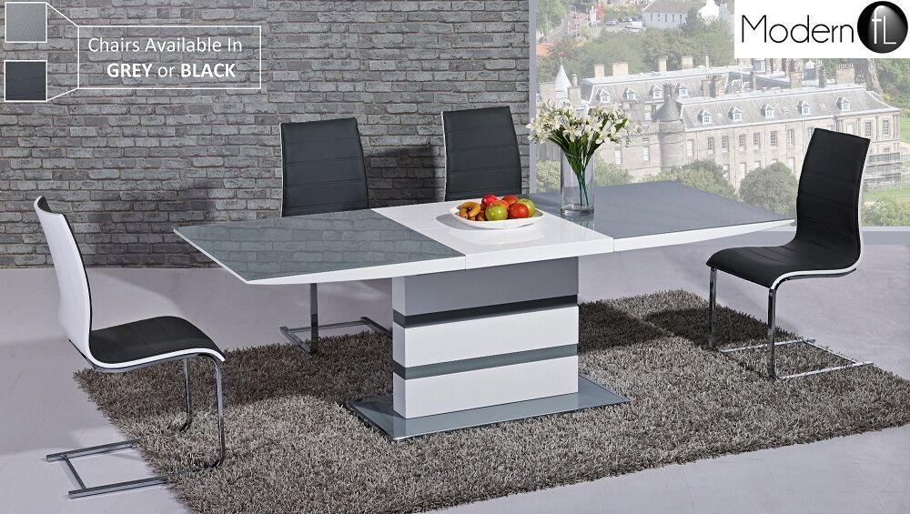 MODERN GREY AND WHITE HIGH GLOSS EXTENDING DINING TABLE CONTEMPORARY DINING