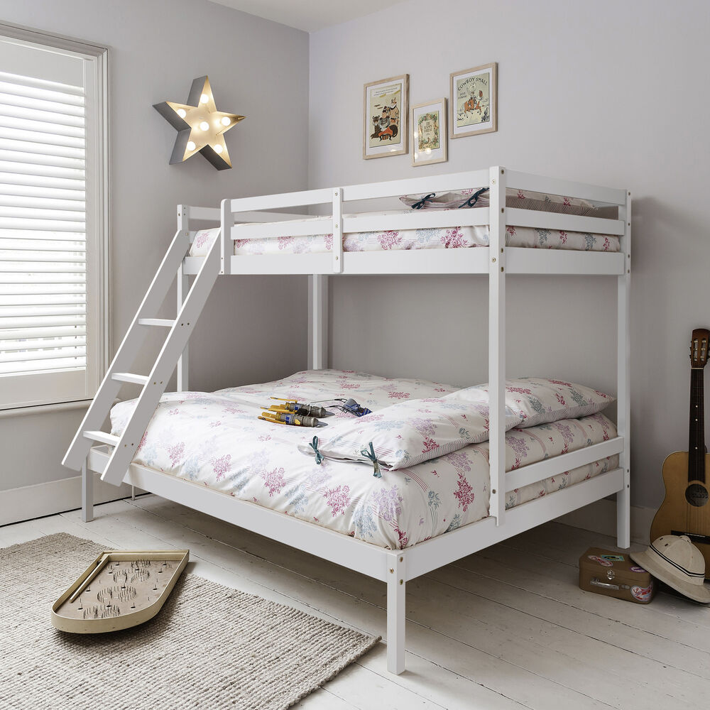 Triple sleeper bed bunk bed in white double single kids for Single bunk bed