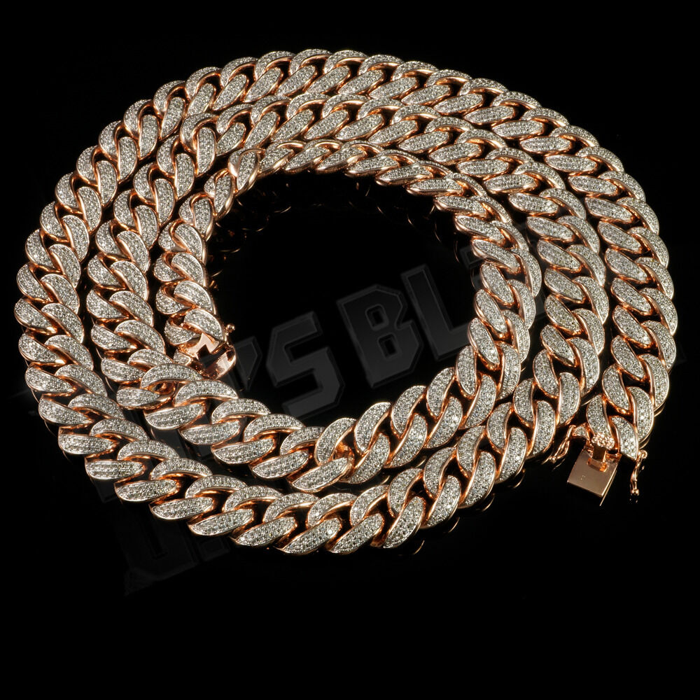18k Rose Gold Plated Cz Iced Out Cuban Chain Micropave