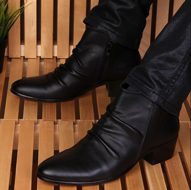 s high top ankle boots pointed toe casual zipper cuban
