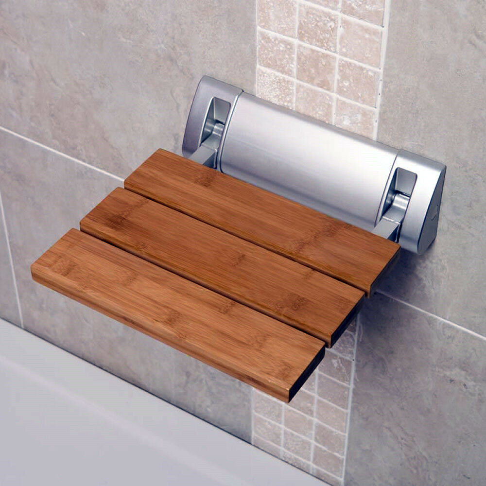 Bathroom Wall Mounted Solid Wood Folding Shower Seat Wide Base Stools Benches Ebay
